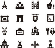 Paris, France icon set. Black and white set of glyph flat icons relating to Paris and France Royalty Free Stock Image