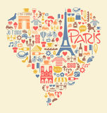 Paris France Icons Landmarks and attractions. Many Paris France Icons Landmarks and attractions in a heart shape stock illustration