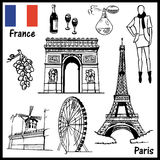 Paris France. The illustration on the theme of Paris France attractions: people, architecture, culture Stock Images