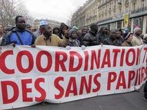Paris, France, Immigration Rights Demonstration,. Paris, France, Coordination of Undocumented Aliens, Demonstrating at Libya Demonstration Stock Photo