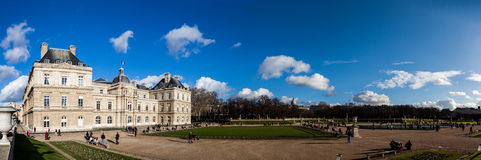 PARIS, FRANCE: JAN 1: Luxembourg garden on January 1, 2013 in Paris - Luxembourg garden is one of the famous places for tourists. Picture of Luxembourg Palace in royalty free stock image