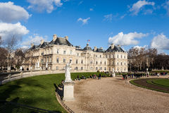 PARIS, FRANCE: JAN 1: Luxembourg garden on January 1, 2013 in Paris - Luxembourg garden is one of the famous places for tourists. Picture of Luxembourg Palace in royalty free stock photos