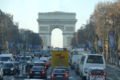 Champs Elysees in Paris France. PARIS, FRANCE-JAN 18, 2017: The Avenue des Champs-Elysees is an avenue in the 8th arrondissement of Paris, running between the royalty free stock photography
