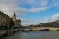 Paris, The banks of the Seine are flooded, the Seine is 6 meters above the level. Royalty Free Stock Photography