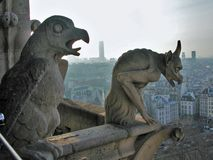 Paris - Gargoyle of Notre Dame. Paris, France - January 16, 2005: detail of gargoyles, monstrous animalistic figures, seen by companaria tower of Notre-Dame stock photography