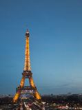 PARIS, FRANCE - JANUARY, 29, 2017.Eiffel tower at Paris in the twilight time .Eiffel tower is the landmark of Paris,France. Royalty Free Stock Photo