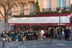 The famous brasserie Le Flore en l`Isle located near Notre Dame cathedral , Paris, France. Paris, France-January 14, 2018 : The famous brasserie Le Flore en l ` Royalty Free Stock Photography