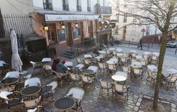 The Relais de la butte is historical restaurant located in Montmatre area of Paris, France. Paris, France-January 14, 2018: le Relais de la butte is historical Stock Image