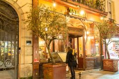 Brasserie Julien is historical monument of Paris .It was founded in 1903. Paris, France-January 28, 2018 :Located right in the heart of Paris, a stone s throw Royalty Free Stock Photos