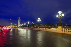 Night view of Pont Alexandre III, Paris royalty free stock photos