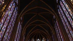 Sainte-Chapelle in Paris. Paris, France - January 22,2018: The Sainte-Chapelle is a Gothic style chapel in Cite, Paris. It is now a part of Le palais de justice stock video