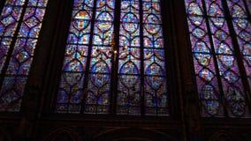 Sainte-Chapelle in Paris. Paris, France - January 22,2018: The Sainte-Chapelle is a Gothic style chapel in Cite, Paris. It is now a part of Le palais de justice stock footage