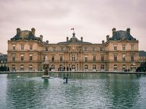 View of the Luxembourg palace, inside the public garden of Luxem. Paris, France - January 7, 2018: View of the Luxembourg palace, inside the public garden of the stock image