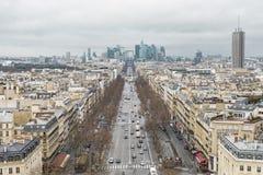 Up High City Landscape Of La Defense In Paris stock images