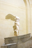 PARIS, FRANCE , JANUARY 26, 2017: Winged Victory of Samothrace, called Nike of Samothrace, hellenistic marble sculpture Royalty Free Stock Image