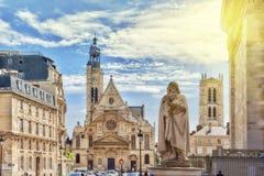 PARIS, FRANCE 8 JUILLET 2016 : Saint-Etienne-du-Mont est une église Images libres de droits