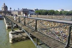 PARIS, FRANCE - 6 JUIN , 2013 : Les amants ont fermé à clef des milliers de serrures au pont de Pont des Arts à Paris Les cadenas Image stock