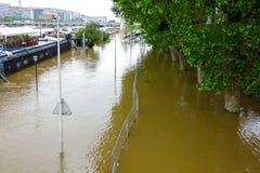 PARIS, FRANCE - 4 juin 2016 : Les plus mauvaises inondations dans un hav de siècle Photographie stock
