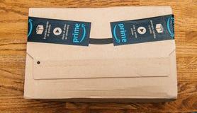 Amazon Prime box on wooden background royalty free stock photos