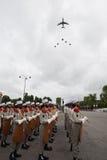 paris france Juli 14, 2012 Rangerna av banbrytarna av den franska utländska legionen under ståtar tid Royaltyfri Bild
