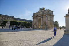 The Arc de Triomphe on the Place Carrousel in Paris. Paris, France - July 04, 2018: The Arc de Triomphe on the Place Carrousel in Paris Stock Photography