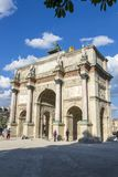 The Arc de Triomphe on the Place Carrousel in Paris. Paris, France - July 04, 2018: The Arc de Triomphe on the Place Carrousel in Paris Stock Photo