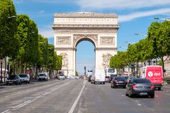 The Champs-Elysees next to the Arc de Triomphe in central Paris. PARIS,FRANCE - JULY 29,2017 : The Champs-Elysees next to the Arc de Triomphe in central Paris on Royalty Free Stock Photos