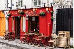 Charming restaurant Chez Marie on Montmartre hill. Paris, France. Paris, France - July 06, 2017: The charming restaurant Chez Marie on Montmartre hill stock photo