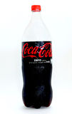 Paris, France, July 17, 2016. A cold bottle of coca cola zero isolated on white background. A bottle of coke zero isolated on white Stock Image