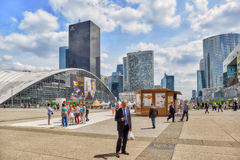 PARIS, FRANCE - JULY 06, 2016 :La Defense, Business Quarter with Royalty Free Stock Photos