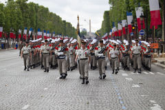 Paris. France. July 14, 2012. Legionnaires of the French foreign legion march during the parade. Royalty Free Stock Photo