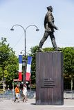 Monument to Charles de Gaulle at the Avenue des Champs-Elysees. Paris, France - July 07, 2017: Monument to French general and statesman Charles de Gaulle at the royalty free stock images