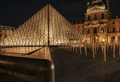 Louvre glass roof pyramid royalty free stock images
