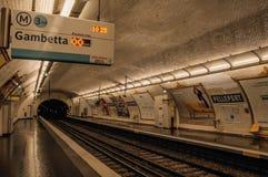 Pelleport subway station platform heading to Gambetta in Paris. Paris, France - July 11, 2017. Pelleport subway station platform heading to Gambetta in Paris royalty free stock images