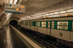 Pelleport subway station platform heading to Gambetta in Paris. Paris, France - July 11, 2017. Pelleport subway station platform heading to Gambetta in Paris stock images
