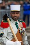 Paris. France. July 14, 2012. Pioneers of the French foreign legion during the parade on the Champs Elysees. Royalty Free Stock Images