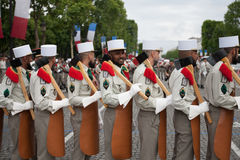 Paris. France. July 14, 2012. Pioneers of the French foreign legion during the parade on the Champs Elysees. Royalty Free Stock Photo