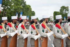 Paris. France. July 14, 2012. Pioneers of the French foreign legion during the parade on the Champs Elysees. Stock Image