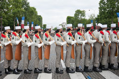 Paris. France. July 14, 2012. Pioneers of the French foreign legion during the parade on the Champs Elysees. Royalty Free Stock Image