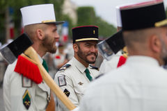 Paris. France. July 14, 2012. Pioneers of the French foreign legion during the parade on the Champs Elysees. Stock Photo