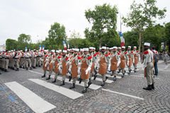 Paris. France. July 14, 2012. Pioneers of the French foreign legion during the parade on the Champs Elysees. Royalty Free Stock Photos