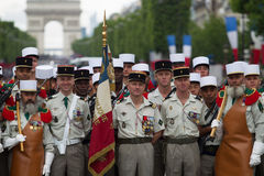 Paris. France. July 14, 2012. Pioneers of the French foreign legion before the parade on the Champs Elysees . Royalty Free Stock Photo