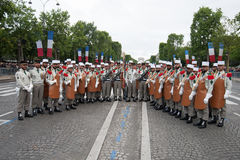 Paris. France. July 14, 2012. Pioneers of the French foreign legion before the parade on the Champs Elysees . Stock Photos