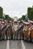 Paris. France. July 14, 2012. Pioneers of the French foreign legion before the parade on the Champs Elysees . Royalty Free Stock Photos