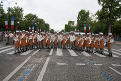 Paris. France. July 14, 2012. Pioneers of the French foreign legion before the parade on the Champs Elysees . Stock Image