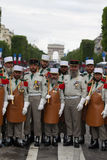 Paris. France. July 14, 2012. Pioneers of the French foreign legion before the parade on the Champs Elysees . Stock Photography