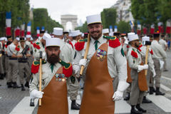 Paris. France. July 14, 2012. Pioneers of the French foreign legion before the parade on the Champs Elysees . Royalty Free Stock Image