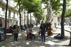 PARIS, FRANCE, 12 JULY, 2014- Quartet Street Performers in the Latin Quarter. A jazz quartet performing in the Latin Quarter of Paris near Sorbonne University Stock Photos