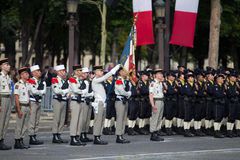 Paris. France. July 14, 2012. The ranks of the foreign legionaries during parade time on the Champs Elysees in Paris. Royalty Free Stock Images