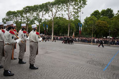 Paris. France. July 14, 2012. The ranks of the legionaries during parade time on the Champs Elysees in Paris. Stock Photos